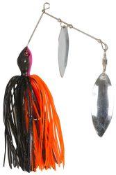 Spinner bait körforgóval narancs-fekete, ezüst 21g