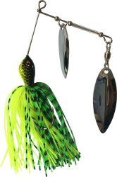 Spinner bait körforgóval neon-zöld, ezüst 21g